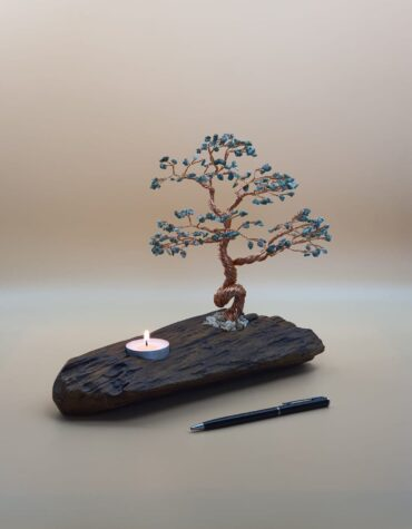 Mc190 Candle Holder With Copper Wire Bonsai Tree And Serpentine Stones Mecal Corporate